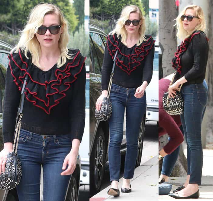 Kirsten Dunst goes shopping at A.P.C. in Beverly Hills wearing J Brand skinny jeans