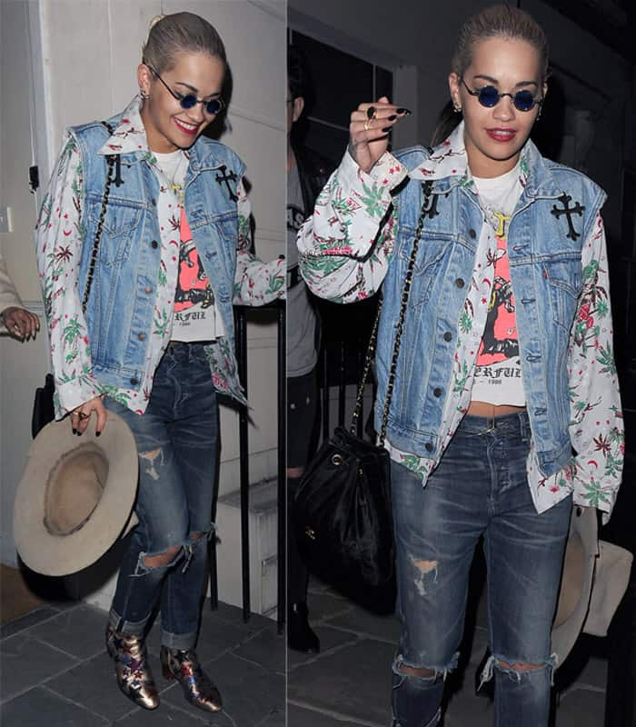 Rita Ora wearing Citizens of Humanity slouchy slim jeans outside her home in London on May 30, 2015