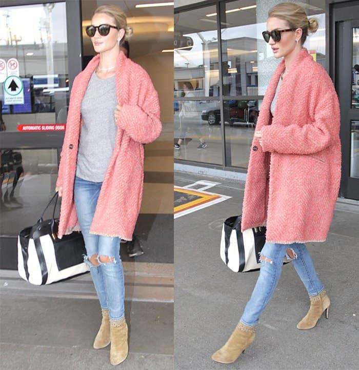"Rosie Huntington-Whiteley rocks Paige Denim ""Skyline"" ankle peg beachwood destructed jeans"
