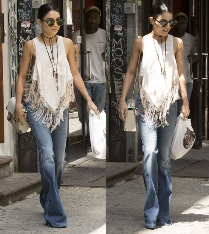 Vanessa Hudgens wearing flare jeans in New York on June 17, 2015