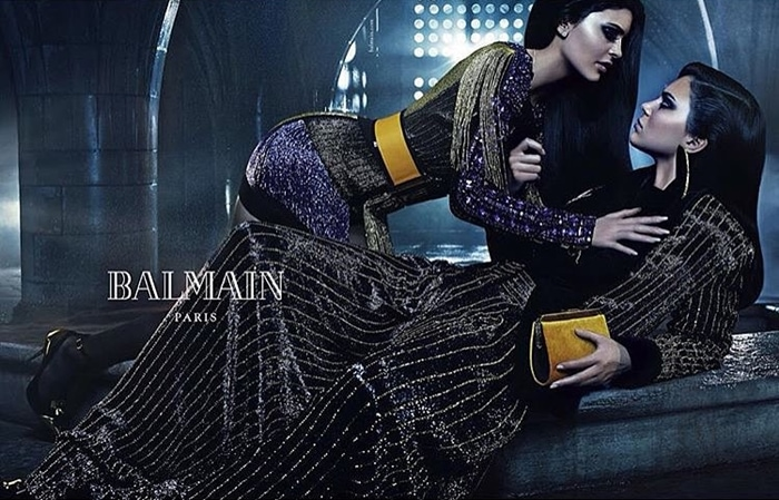 Kendall shares the spotlight with sister Kylie in the sibling-themed Balmain Fall/Winter 2015 ad campaign