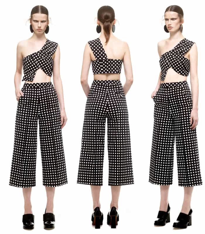 Self Portrait Mono Checked Cropped Top and Culottes
