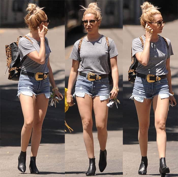 Ashley Tisdale wore a pair of Erin Wasson x RVCA Hish cut-off denim shorts with a plain grey t-shirt
