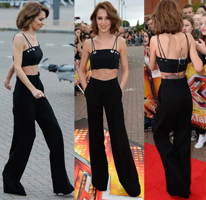 Cheryl Cole styled her black pants with a sexy eyelet crop top from Mugler featuring a jersey back panel and partial satin lining