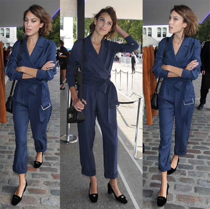 Alexa Chung rocks a plunging neckline jumpsuit with a belted waist