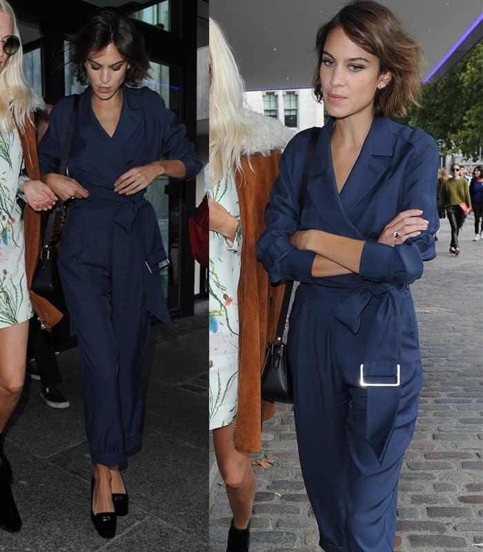 Alexa Chung arrives at the Topshop Unique show during London Fashion Week SS16