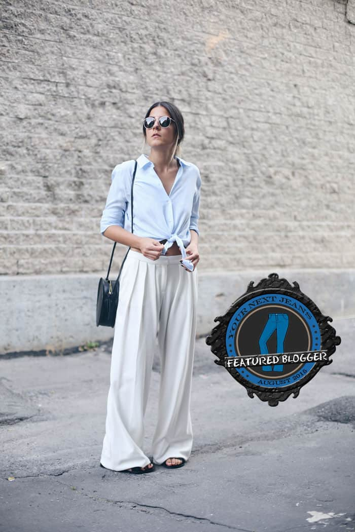 Elif shows how to wear palazzo pants with a button-down shirt tied at the waist