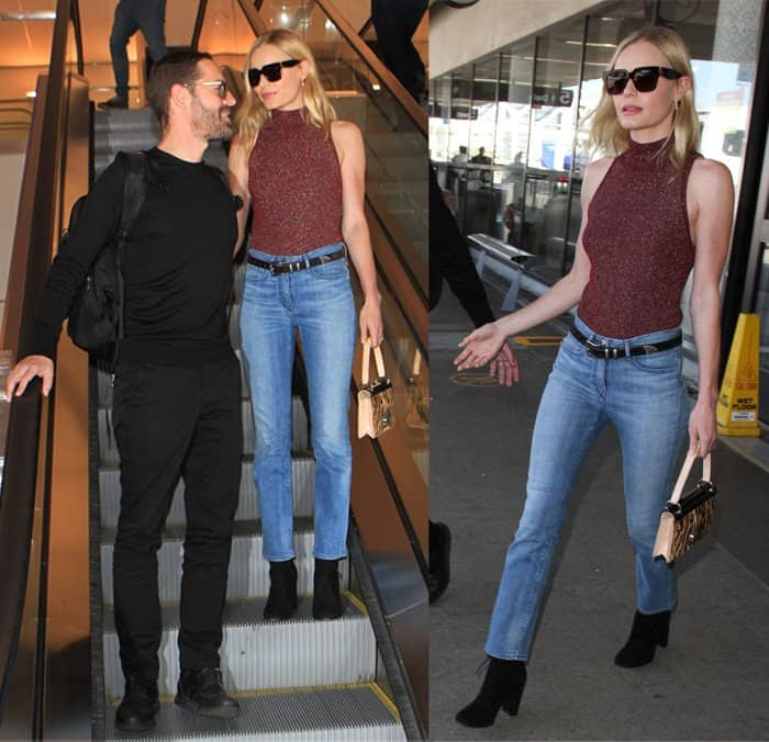 Kate Bosworth and husband Michael Polish at Los Angeles International Airport (LAX) in California on September 3, 2015