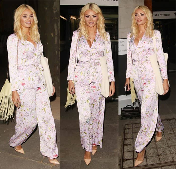 Chloe Sims wears silk pajamas at the Oasis and Victoria & Albert Museum collection launch party