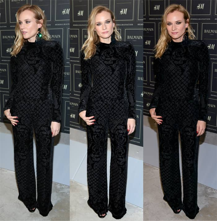 Diane Kruger arrives at the BALMAIN X H&M collection launch event at 23 Wall Street