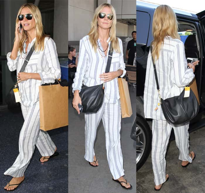 Heidi Klum wears a striped pajama set at Los Angeles International Airport