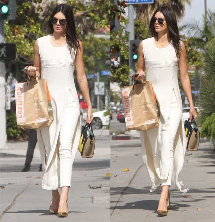 Kendall Jenner grabs lunch at Erewhon Market in Hollywood wearing a dress over pants