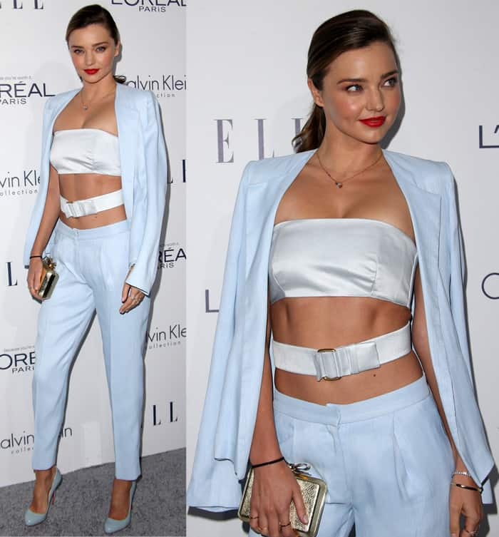 Miranda Kerr balanced the show of flesh by covering up in a blazer and matching pants from Calvin Klein Collection