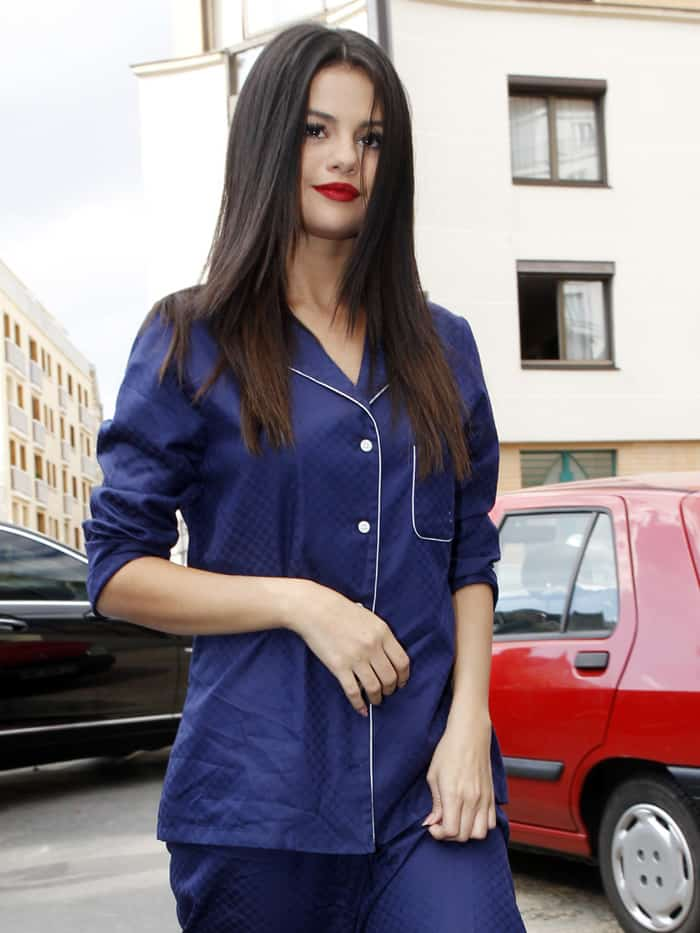 Selena Gomez wears blue pajamas outside in Paris