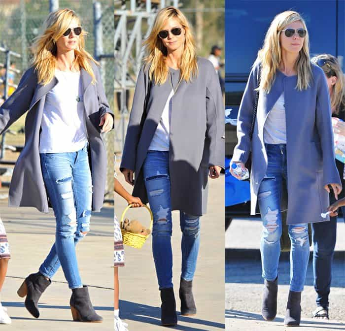 Heidi Klum wears Paper Denim & Cloth Fix ankle skinny jeans in Brentwood