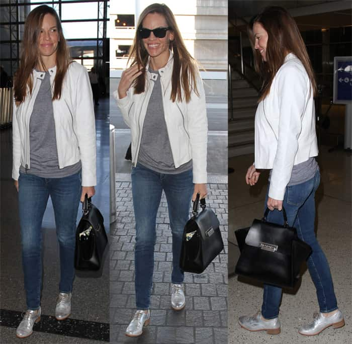 Hilary Swank rocks a grey top and skinny jeans