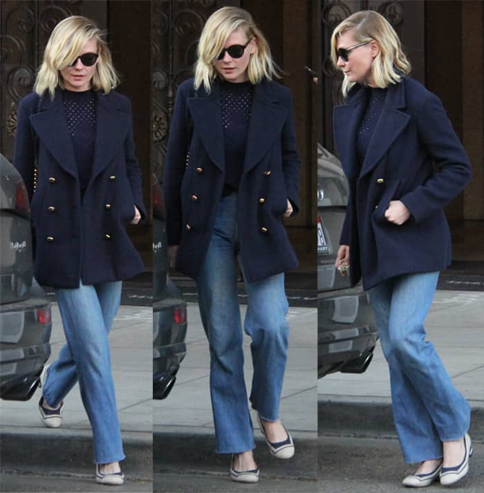Kirsten Dunst at Villa Blanca Restaurant for lunch wearing rough-cut trousers with frayed ends