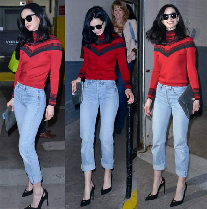 Krysten Ritter looked ready for the weekend in boyfriend jeans paired with a red sweater