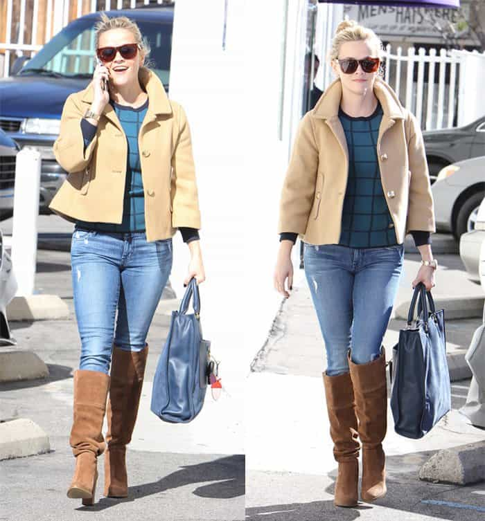 Reese Witherspoon rocks light wash jeans and over-the-knee boots