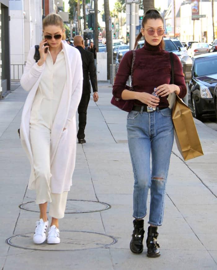Bella and Gigi Hadid go clothes shopping at Yves Saint Laurent