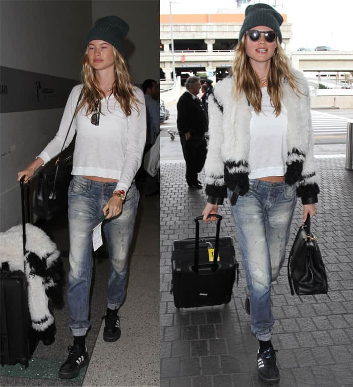 Behati Prinsloo arrives at Los Angeles International Airport (LAX) for a departing flight in California on January 22, 2016