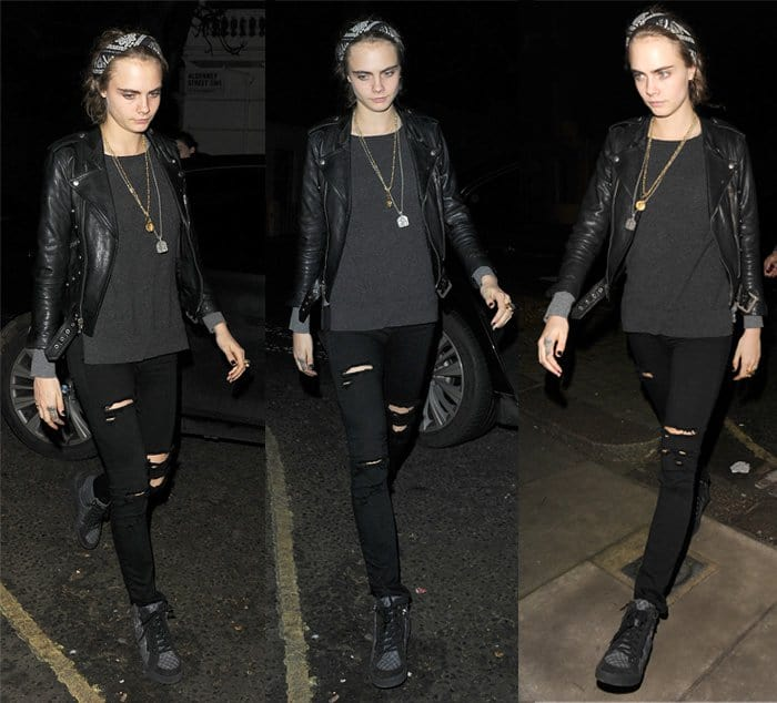 Cara Delevingne attends a Christmas party held at the home of Sir Mick Jagger in Chelsea on December 19, 2015