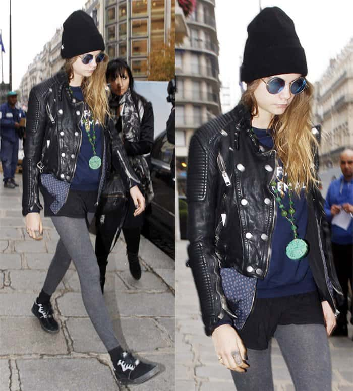 Cara Delevingne leaving her hotel in Paris on October 20, 2015