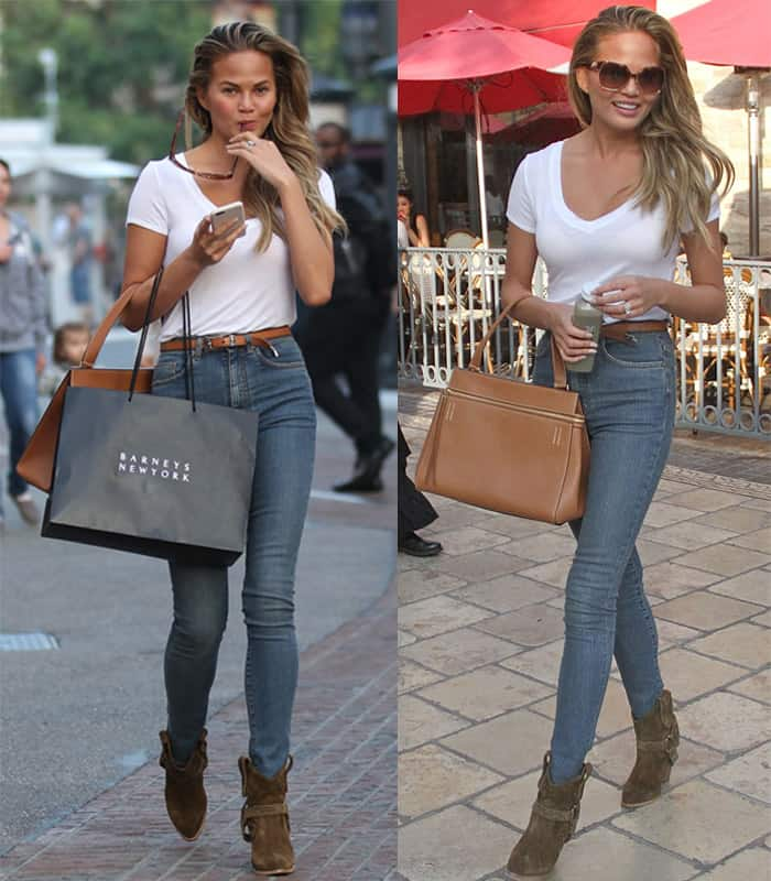 Chrissy Teigen out shopping at The Grove in California on February 4, 2015