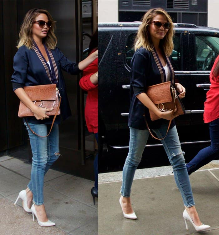 Chrissy Teigen flaunts her incredible legs in jeans