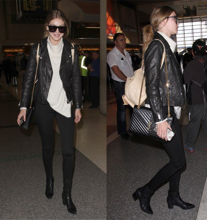 Gigi Hadid arrives at Los Angeles International Airport (LAX) for a departing flight in California on January 15, 2016