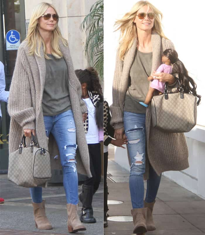 Heidi Klum wears ripped jeans at The Grove in Hollywood on October 18, 2015