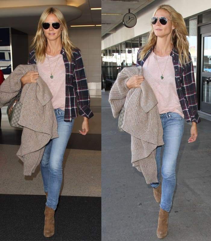 Heidi Klum arrives at Los Angeles International Airport (LAX) in California on October 22, 2015