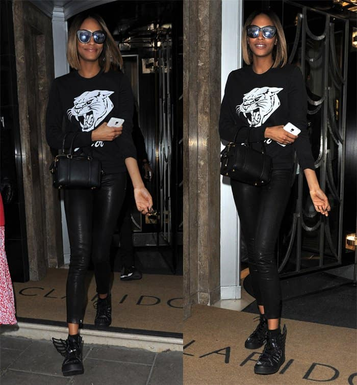 Jourdan Dunn leaving Claridge's hotel in London on February 23, 2015