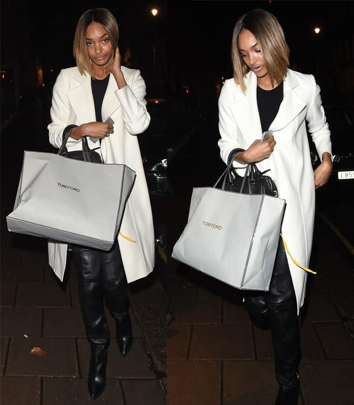 Jourdan Dunn leaving Tom Ford after shopping for a handbag in London on February 23, 2015