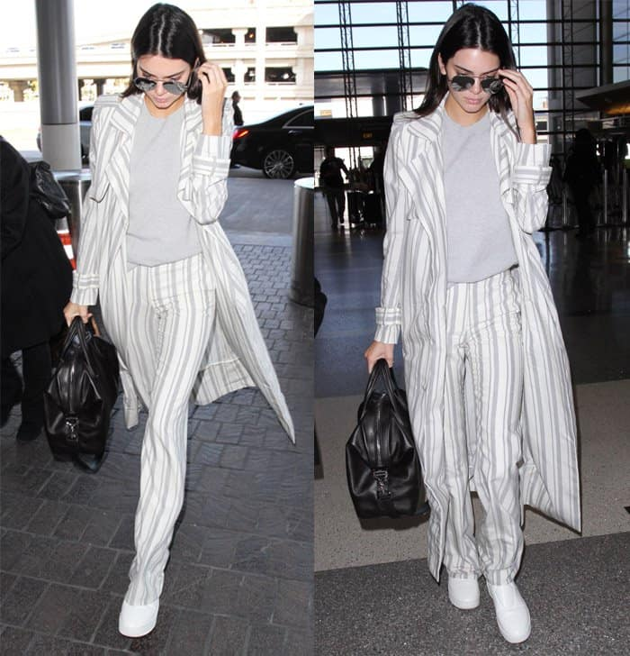 Kendall Jenner departs on a flight from Los Angeles International Airport (LAX) in California on January 21, 2016