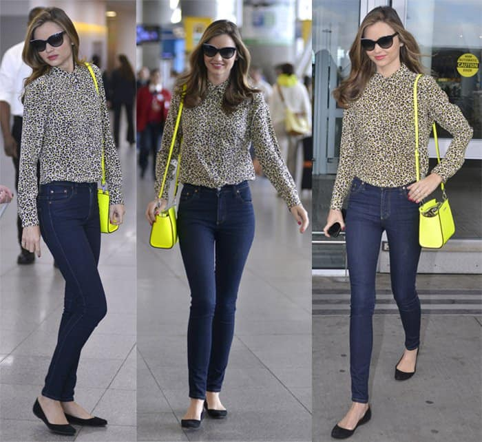 Miranda Kerr arrives at JFK Airport in New York on June 14, 2013