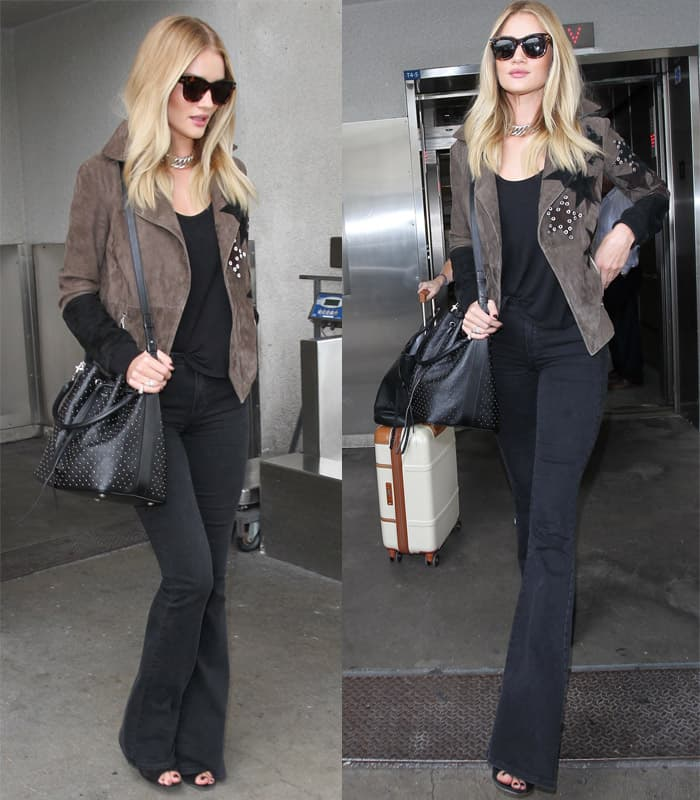 Rosie Huntington-Whiteley arrives at Los Angeles International Airport in California on October 16, 2015