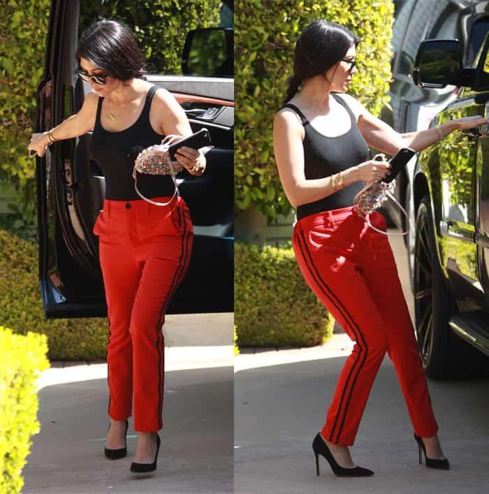 Kourtney Kardashian wears rouge Zadig & Voltaire Pomelo pants