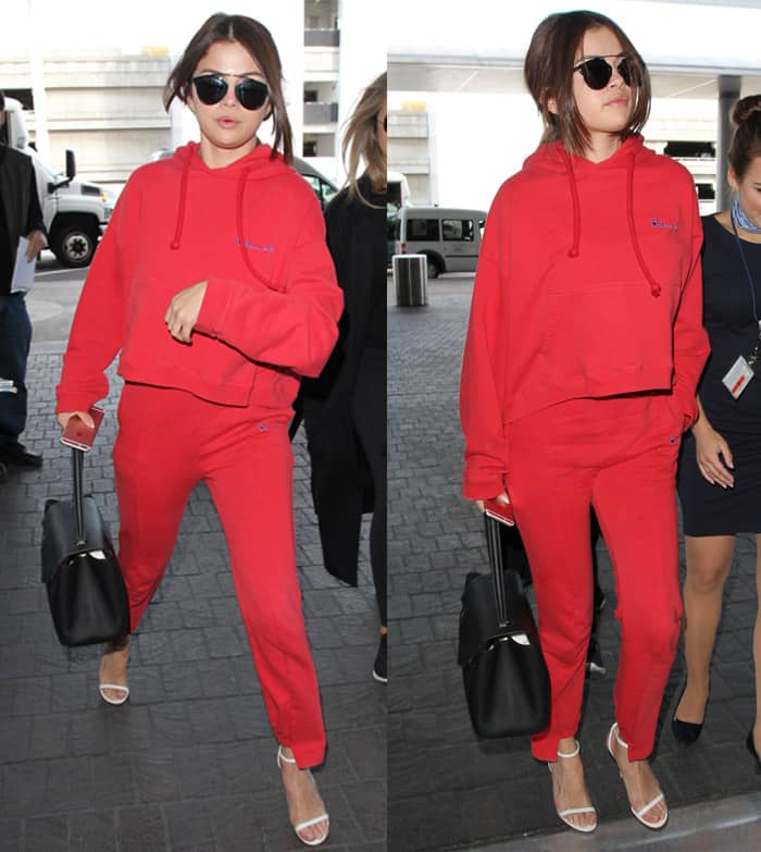 Selena Gomez arrives at Los Angeles International Airport in Los Angeles on March 7, 2016