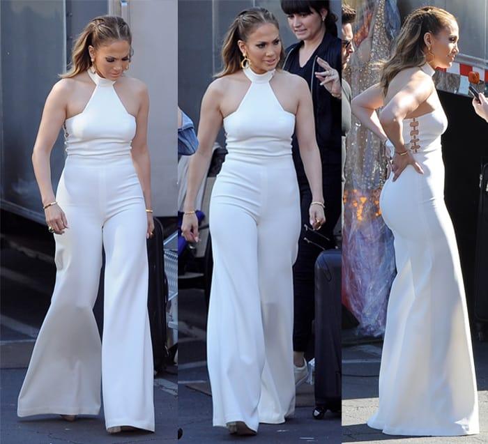 Jennifer Lopez is seen backstage wearing vintage bell bottoms