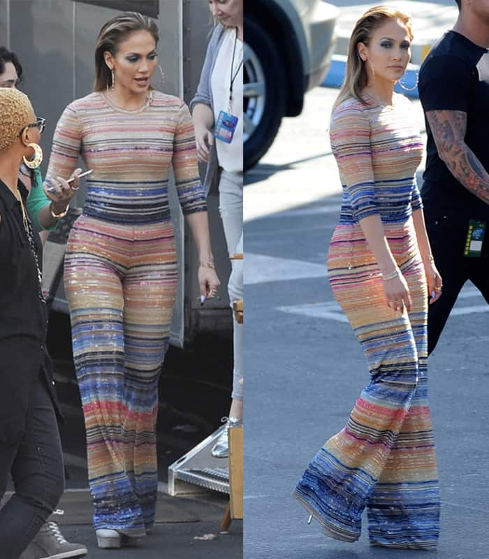 Only Jennifer Lopez could get away with a statement piece like this beaded Naeem Khan jumpsuit