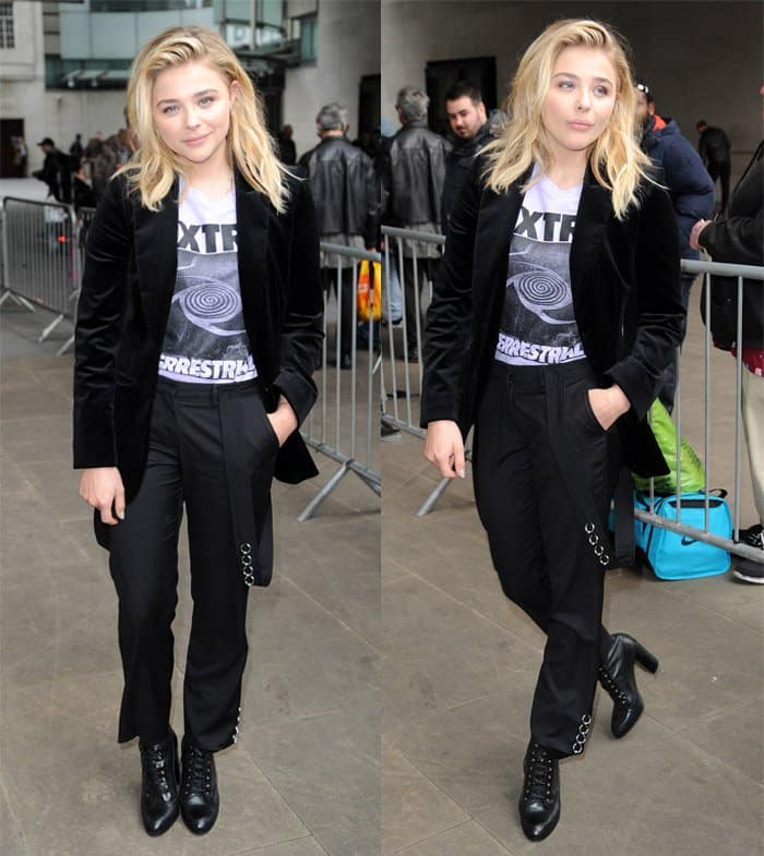 Chloe Grace Moretz sported a chic pair of suspender pants from the Mugler Pre-Fall 2016 collection