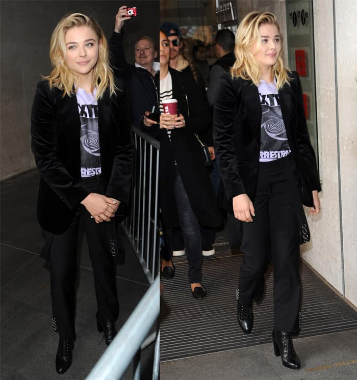 "Chloe Grace Moretz wore an extra terrestrial graphic t-shirt, the Belle Freud ""Willoughby"" jacket in black velvet and a pair of lace up booties"