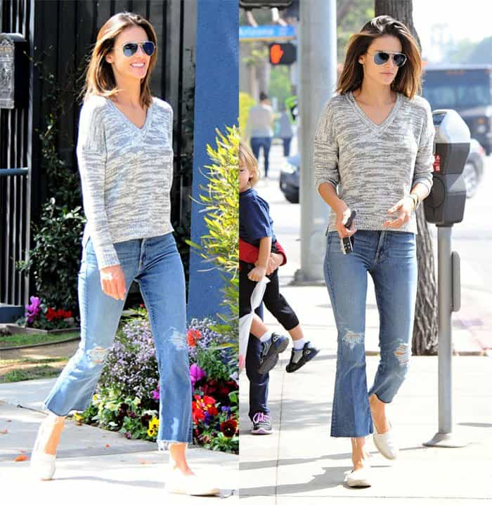 Alessandra Ambrosio styled a grey knit Feel The Piece sweater with gold Celine sunglasses