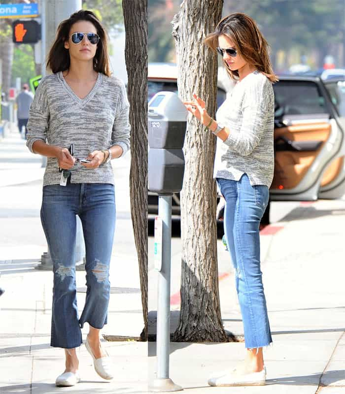 Alessandra Ambrosio wears flared ripped Mother Denim jeans in Brentwood