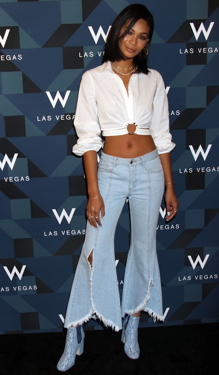 Chanel Iman flaunts her belly button at the W Las Vegas Grand Opening