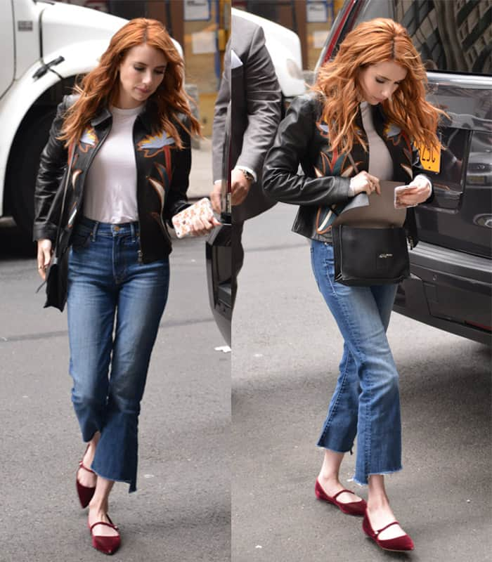 Emma Roberts wears Mother's The Insider crop step fray jeans