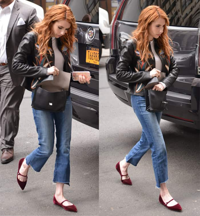 Emma Roberts styled her crop jeans with Tory Burch's Maddie jacket