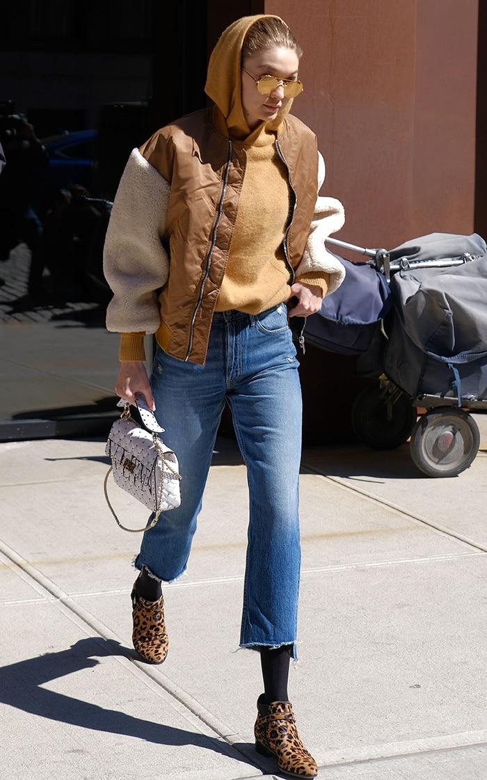 Gigi Hadid rocks Tabitha Simmons Gigi ankle boots while leaving her apartment