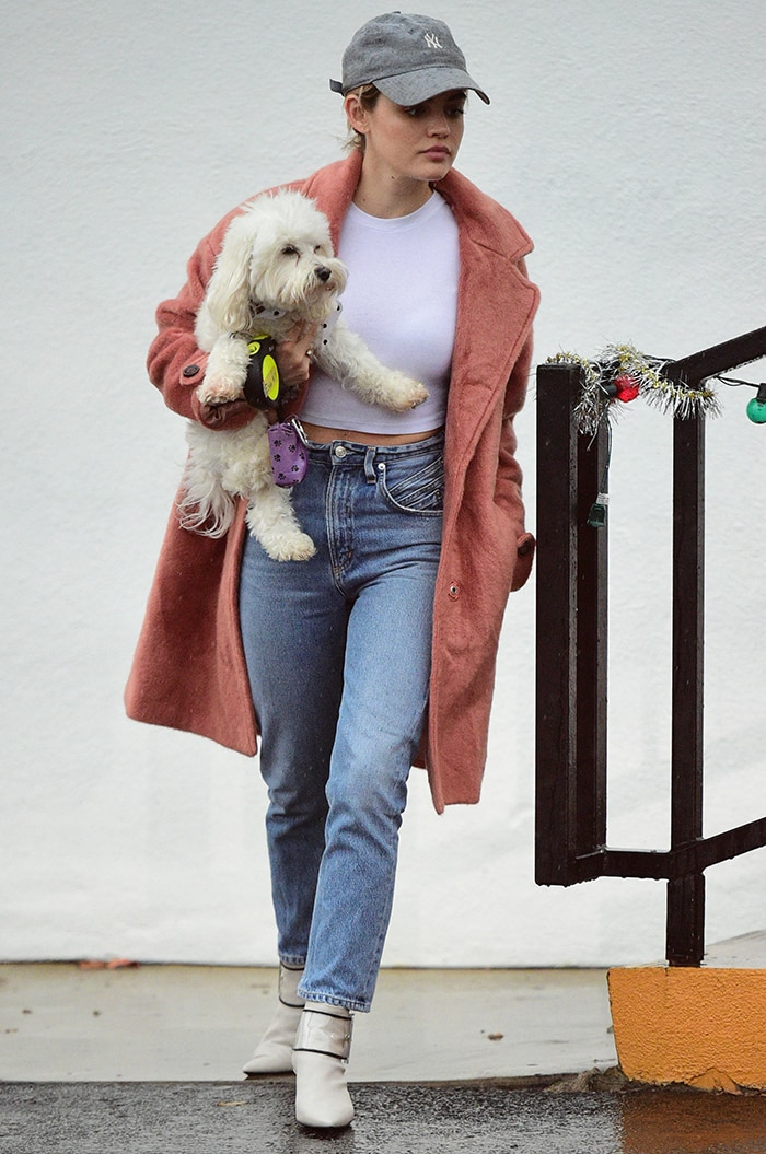 Lucy Hale picks up her pooch from doggie daycare in Los Angeles on January 5, 2019